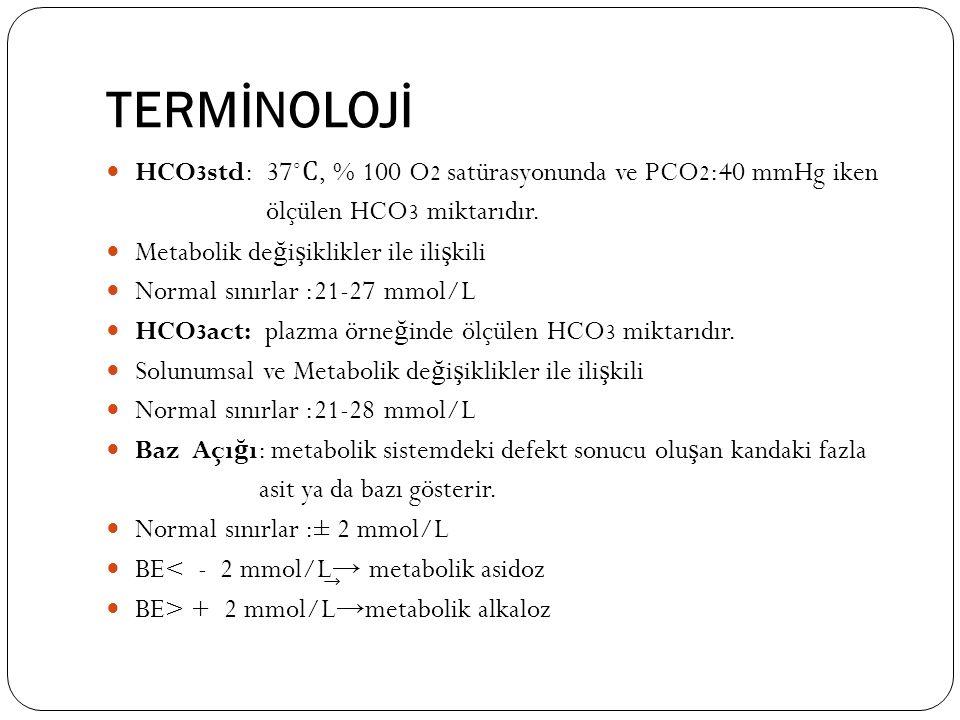 TERMİNOLOJİ HCO 3 std: 37˚ Ϲ, % 100 O 2 satürasyonunda ve PCO 2 :40 mmHg iken ölçülen HCO 3 miktarıdır. Metabolik de ğ i ş iklikler ile ili ş kili Nor