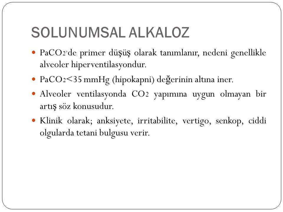 SOLUNUMSAL ALKALOZ PaCO 2' de primer dü ş ü ş olarak tanımlanır, nedeni genellikle alveoler hiperventilasyondur. PaCO 2 <35 mmHg (hipokapni) de ğ erin