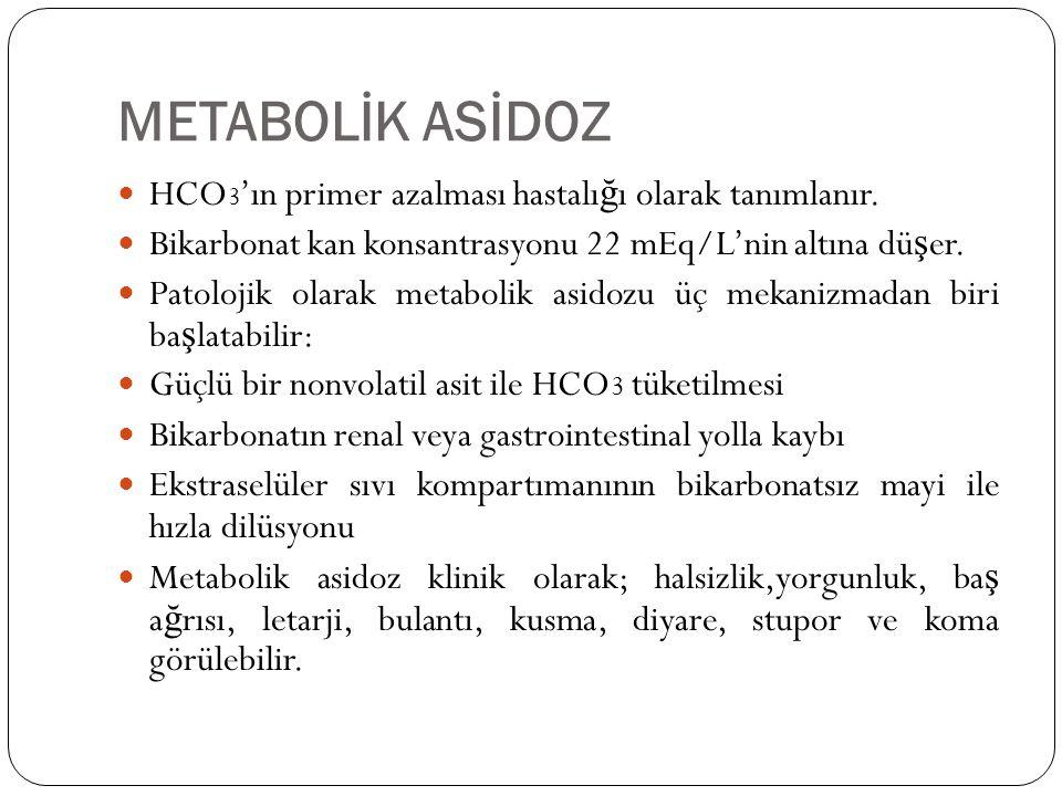 METABOLİK ASİDOZ HCO 3 'ın primer azalması hastalı ğ ı olarak tanımlanır. Bikarbonat kan konsantrasyonu 22 mEq/L'nin altına dü ş er. Patolojik olarak