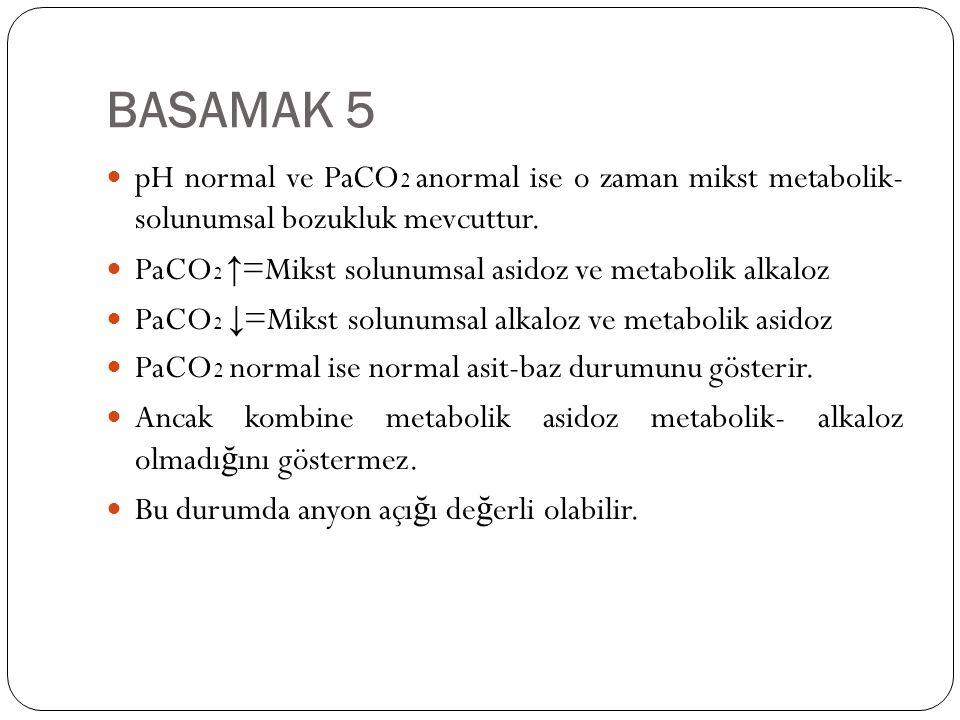 BASAMAK 5 pH normal ve PaCO 2 anormal ise o zaman mikst metabolik- solunumsal bozukluk mevcuttur. PaCO 2 ↑ =Mikst solunumsal asidoz ve metabolik alkal