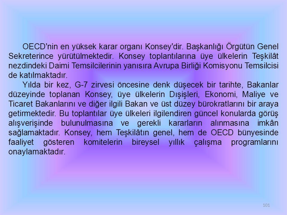 101 OECD'nin en yüksek karar organı Konsey'dir. Başkanlığı Örgütün Genel Sekreterince yürütülmektedir. Konsey toplantılarına üye ülkelerin Teşkilât ne