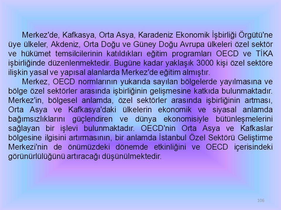 106 Merkez'de, Kafkasya, Orta Asya, Karadeniz Ekonomik İşbirliği Örgütü'ne üye ülkeler, Akdeniz, Orta Doğu ve Güney Doğu Avrupa ülkeleri özel sektör v