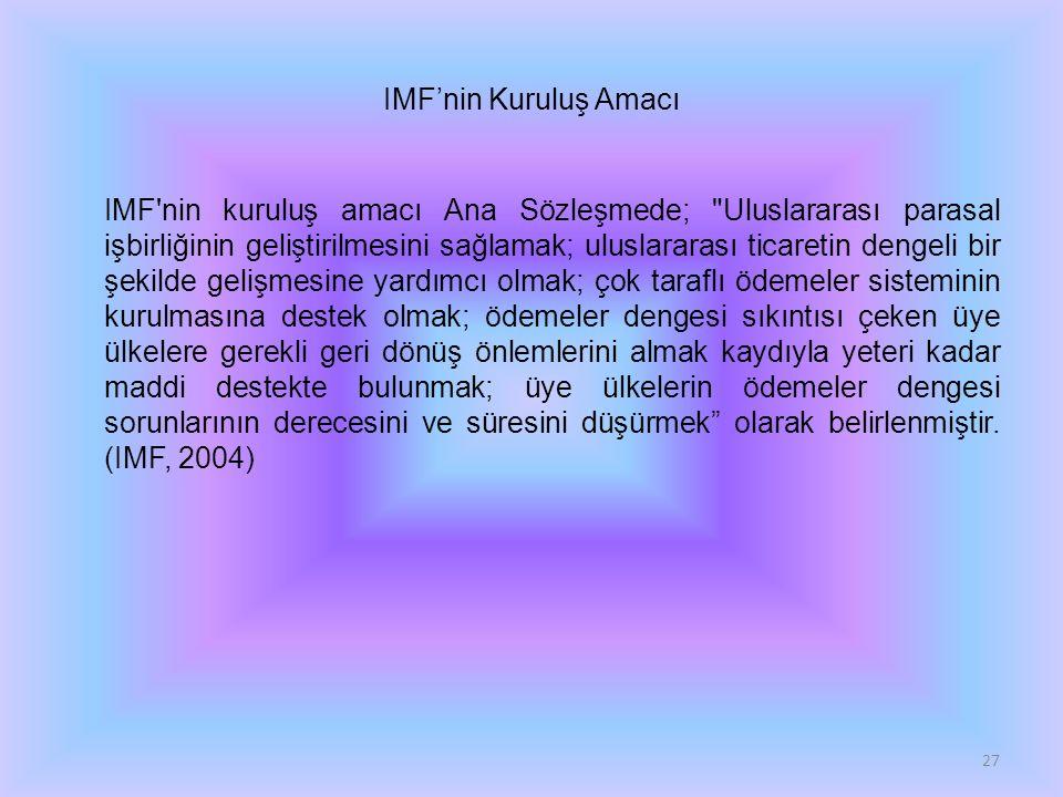 IMF'nin Kuruluş Amacı IMF'nin kuruluş amacı Ana Sözleşmede;