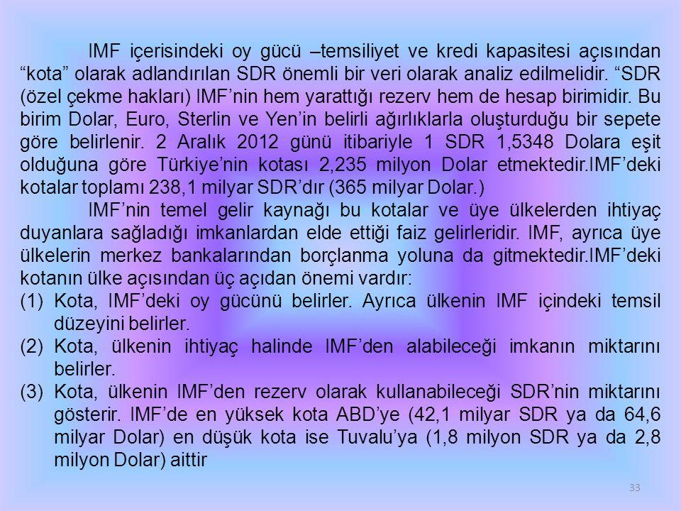 33 IMF içerisindeki oy gücü –temsiliyet ve kredi kapasitesi açısından kota olarak adlandırılan SDR önemli bir veri olarak analiz edilmelidir.