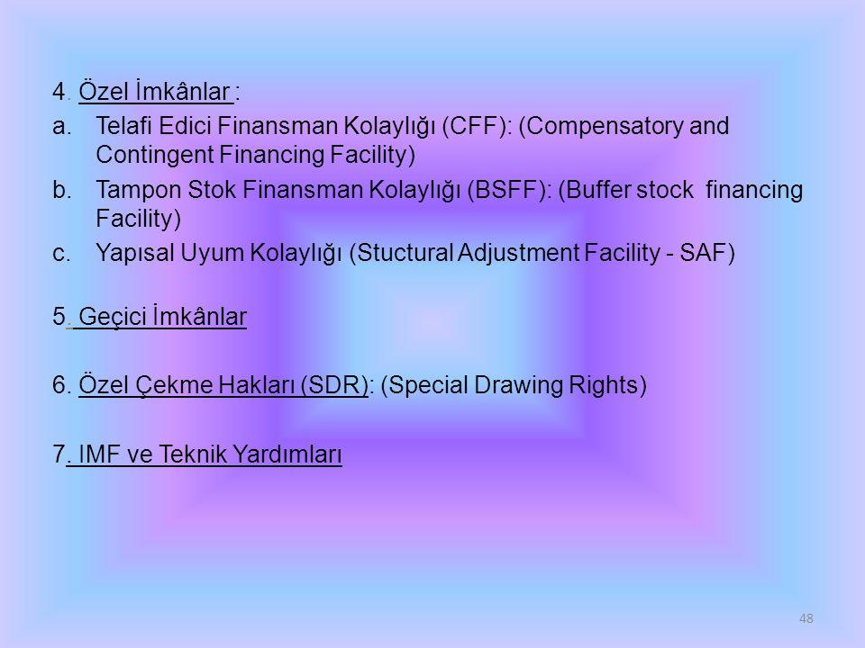 4. Özel İmkânlar : a.Telafi Edici Finansman Kolaylığı (CFF): (Compensatory and Contingent Financing Facility) b.Tampon Stok Finansman Kolaylığı (BSFF)