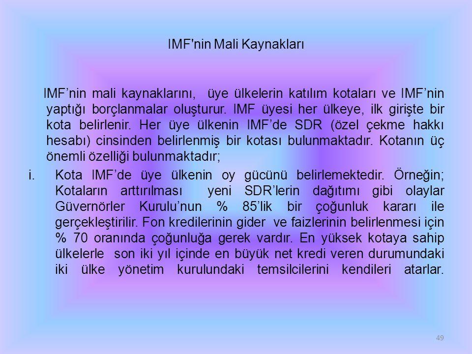 IMF'nin Mali Kaynakları IMF'nin mali kaynaklarını, üye ülkelerin katılım kotaları ve IMF'nin yaptığı borçlanmalar oluşturur. IMF üyesi her ülkeye, ilk