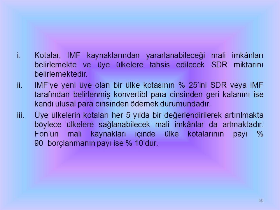 i.Kotalar, IMF kaynaklarından yararlanabileceği mali imkânları belirlemekte ve üye ülkelere tahsis edilecek SDR miktarını belirlemektedir. ii.IMF'ye y