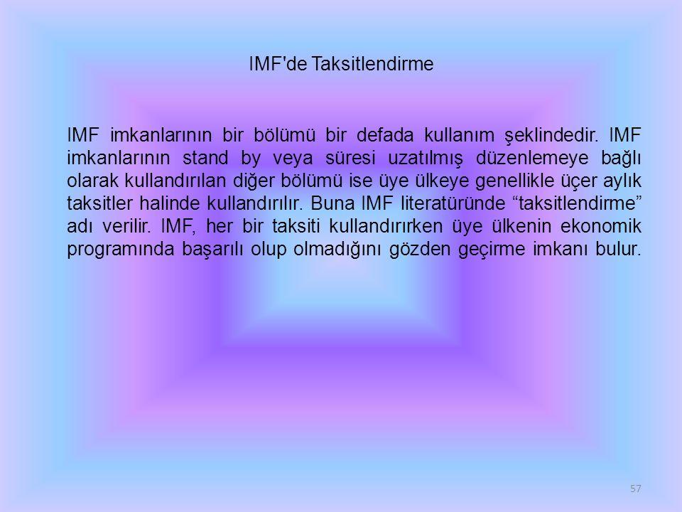 IMF'de Taksitlendirme IMF imkanlarının bir bölümü bir defada kullanım şeklindedir. IMF imkanlarının stand by veya süresi uzatılmış düzenlemeye bağlı o