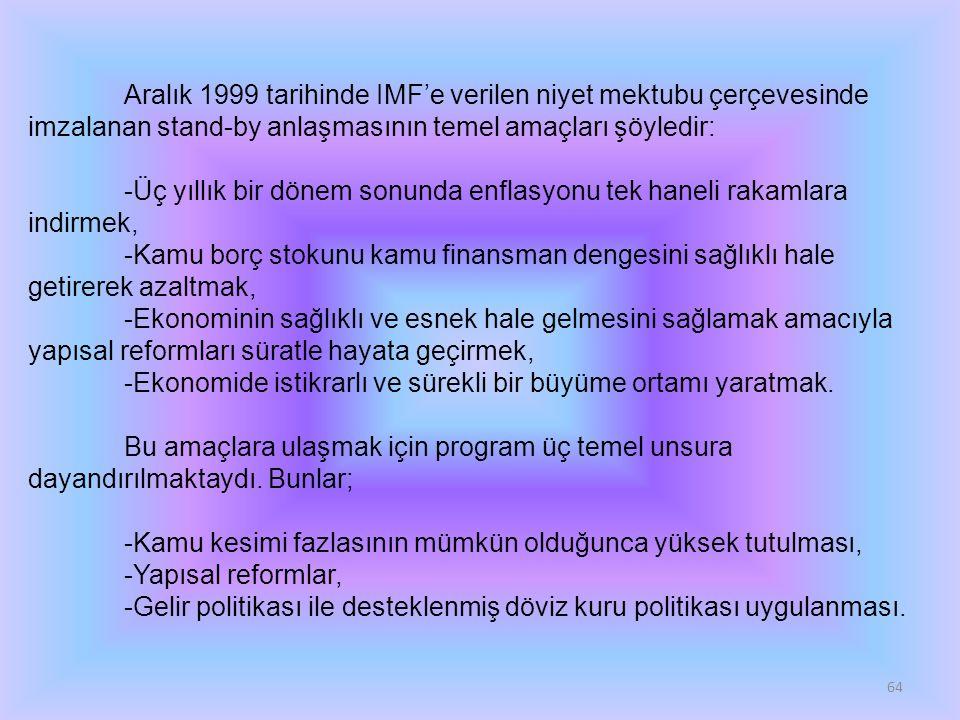 64 Aralık 1999 tarihinde IMF'e verilen niyet mektubu çerçevesinde imzalanan stand-by anlaşmasının temel amaçları şöyledir: -Üç yıllık bir dönem sonund