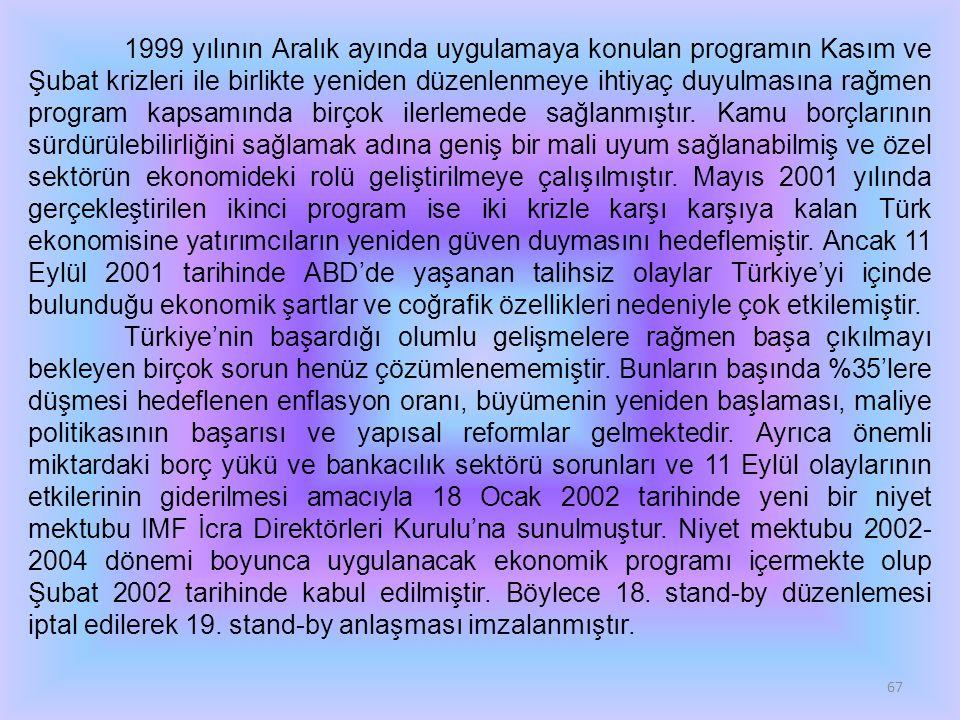 67 1999 yılının Aralık ayında uygulamaya konulan programın Kasım ve Şubat krizleri ile birlikte yeniden düzenlenmeye ihtiyaç duyulmasına rağmen program kapsamında birçok ilerlemede sağlanmıştır.