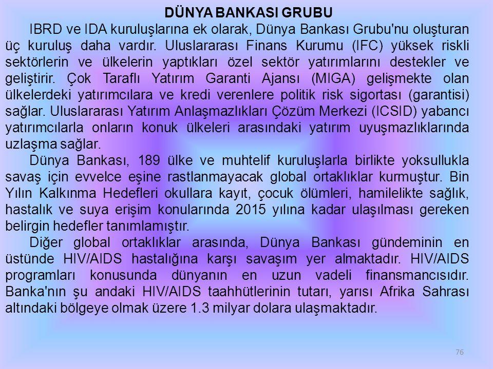 76 DÜNYA BANKASI GRUBU IBRD ve IDA kuruluşlarına ek olarak, Dünya Bankası Grubu'nu oluşturan üç kuruluş daha vardır. Uluslararası Finans Kurumu (IFC)