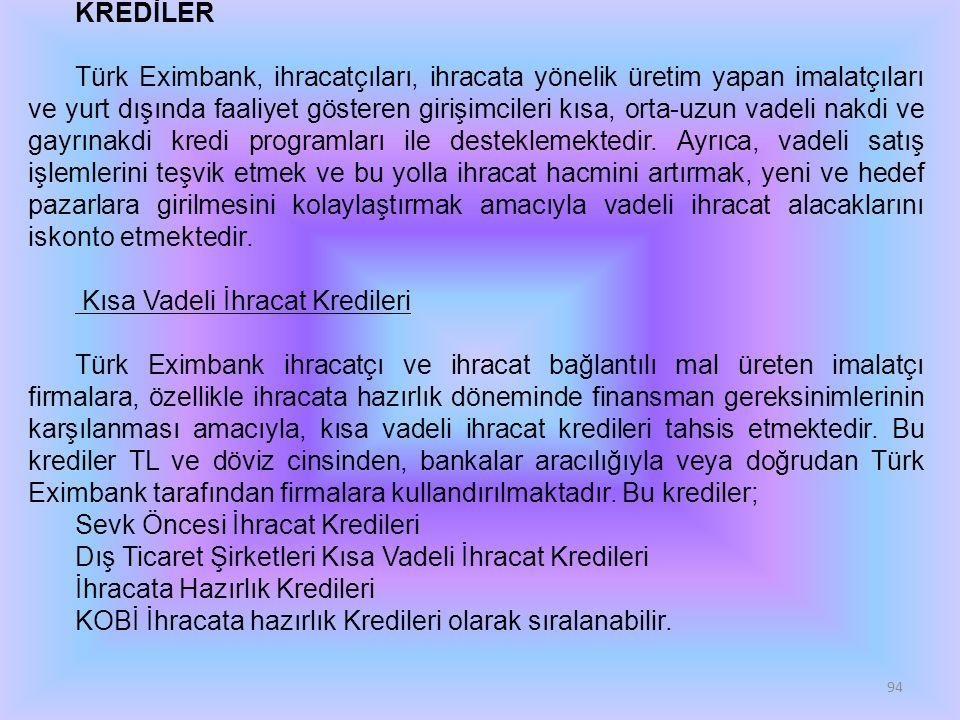 94 KREDİLER Türk Eximbank, ihracatçıları, ihracata yönelik üretim yapan imalatçıları ve yurt dışında faaliyet gösteren girişimcileri kısa, orta-uzun vadeli nakdi ve gayrınakdi kredi programları ile desteklemektedir.