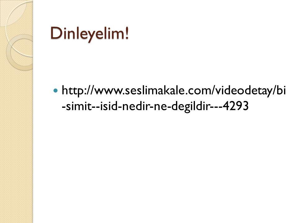 Dinleyelim! http://www.seslimakale.com/videodetay/bi -simit--isid-nedir-ne-degildir---4293