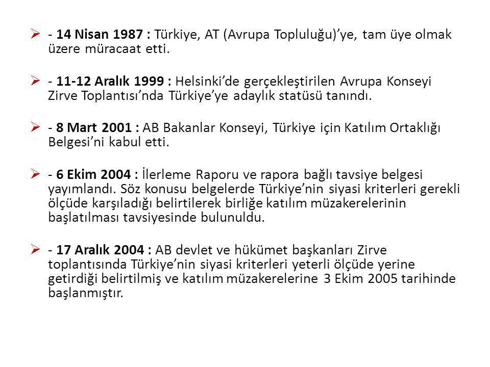  - 14 Nisan 1987 : Türkiye, AT (Avrupa Topluluğu)'ye, tam üye olmak üzere müracaat etti.