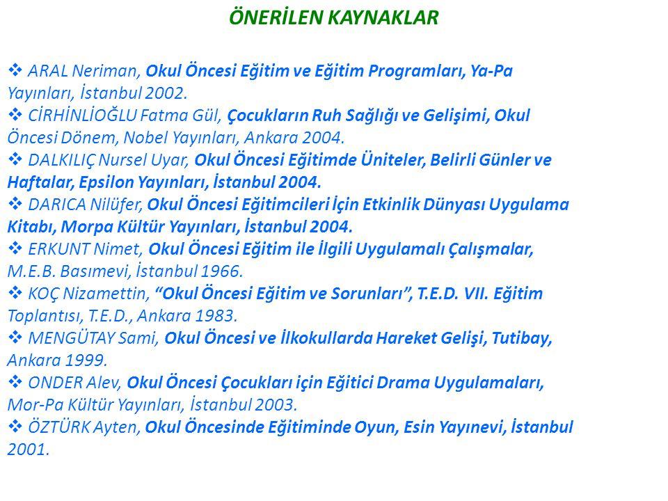 ÖNERİLEN KAYNAKLAR  ARAL Neriman, Okul Öncesi Eğitim ve Eğitim Programları, Ya-Pa Yayınları, İstanbul 2002.