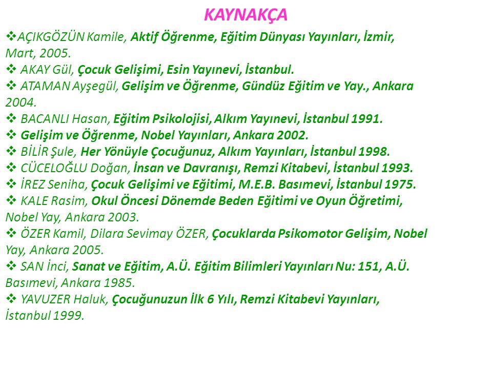 KAYNAKÇA  AÇIKGÖZÜN Kamile, Aktif Öğrenme, Eğitim Dünyası Yayınları, İzmir, Mart, 2005.