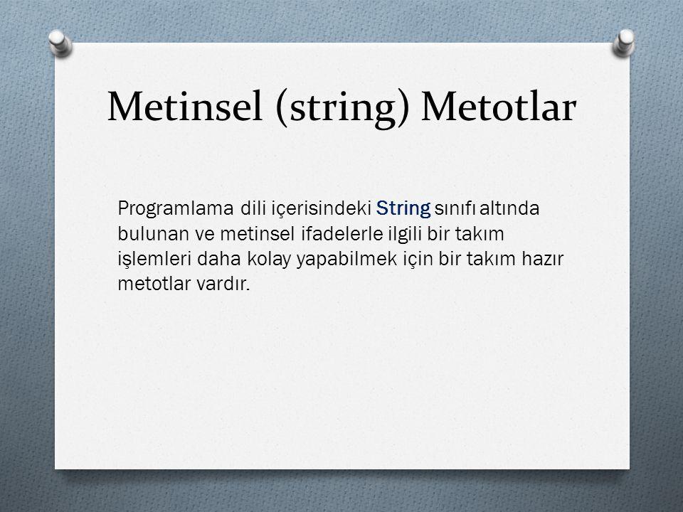 Metinsel (string) Metotlar Programlama dili içerisindeki String sınıfı altında bulunan ve metinsel ifadelerle ilgili bir takım işlemleri daha kolay yapabilmek için bir takım hazır metotlar vardır.