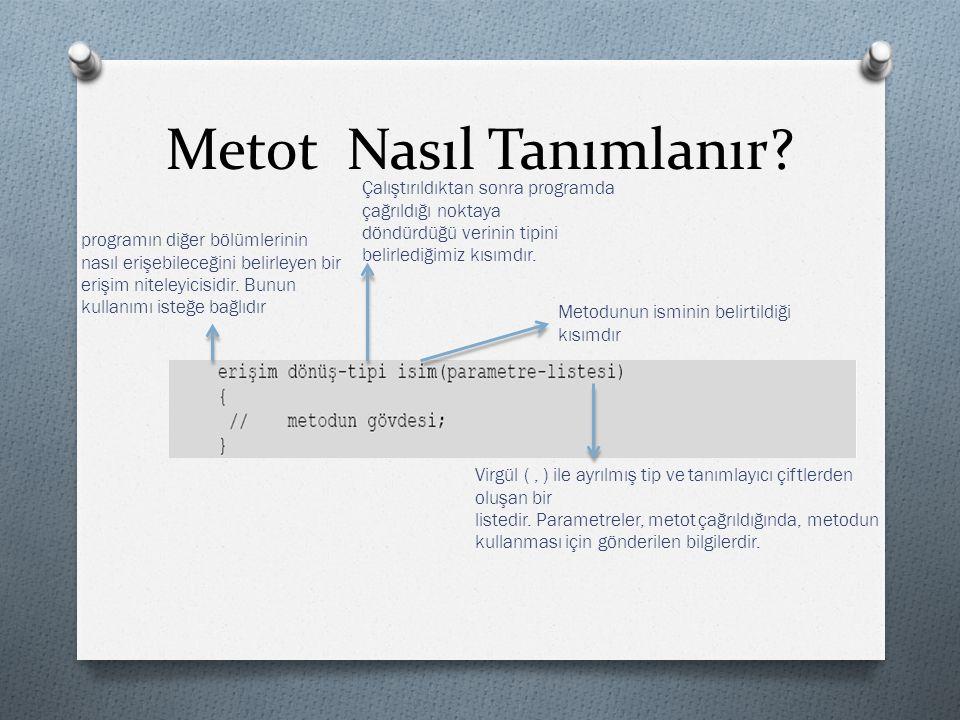 Metot Nasıl Tanımlanır? programın diğer bölümlerinin nasıl erişebileceğini belirleyen bir erişim niteleyicisidir. Bunun kullanımı isteğe bağlıdır Çalı