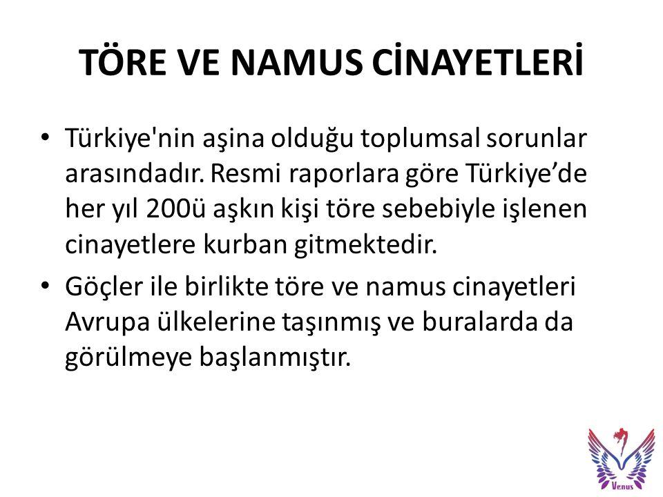 TÖRE VE NAMUS CİNAYETLERİ Türkiye nin aşina olduğu toplumsal sorunlar arasındadır.