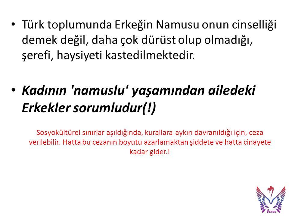 Türk toplumunda Erkeğin Namusu onun cinselliği demek değil, daha çok dürüst olup olmadığı, şerefi, haysiyeti kastedilmektedir.