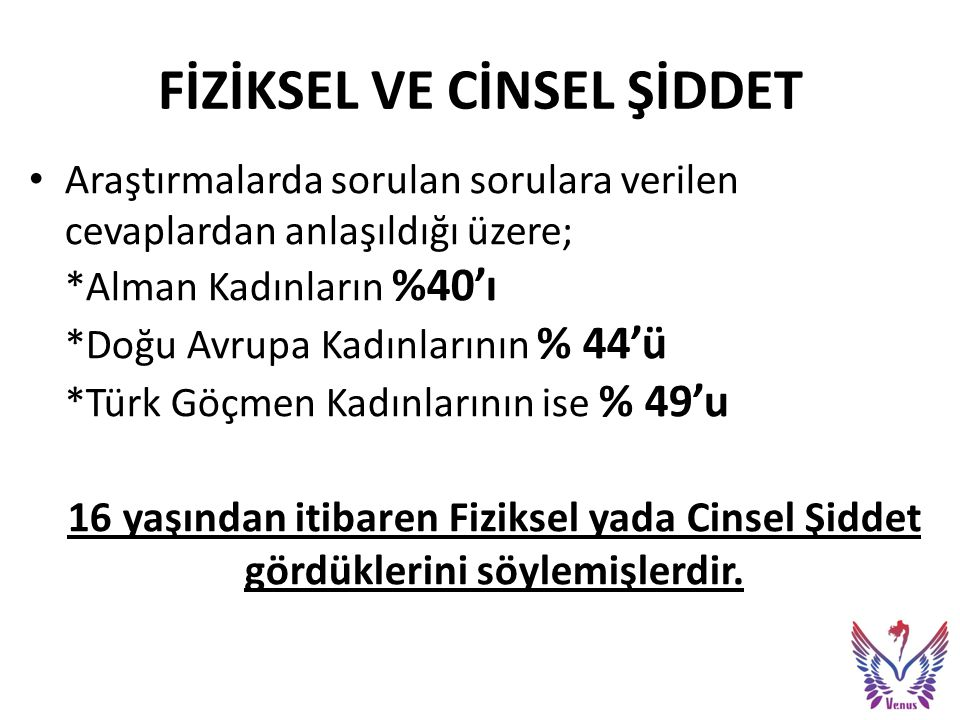 Türk göçmen kadınların sadece fiziksel şiddet yaşamadıkları aynı zamanda ŞİDDETİN SONUÇLARINA da katlanmak zorunda kaldıkları görülmektedir !