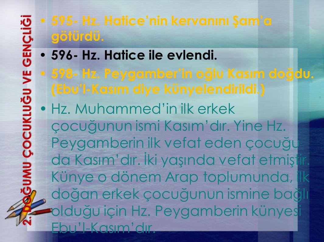 2. DOĞUMU ÇOCUKLUĞU VE GENÇLİĞİ 595- Hz. Hatice'nin kervanını Şam'a götürdü. 596- Hz. Hatice ile evlendi. 598- Hz. Peygamber'in oğlu Kasım doğdu. (Ebu
