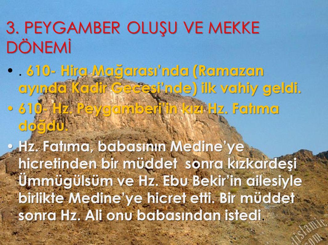 3. PEYGAMBER OLUŞU VE MEKKE DÖNEMİ 610- Hira Mağarası'nda (Ramazan ayında Kadir Gecesi'nde) ilk vahiy geldi.. 610- Hira Mağarası'nda (Ramazan ayında K