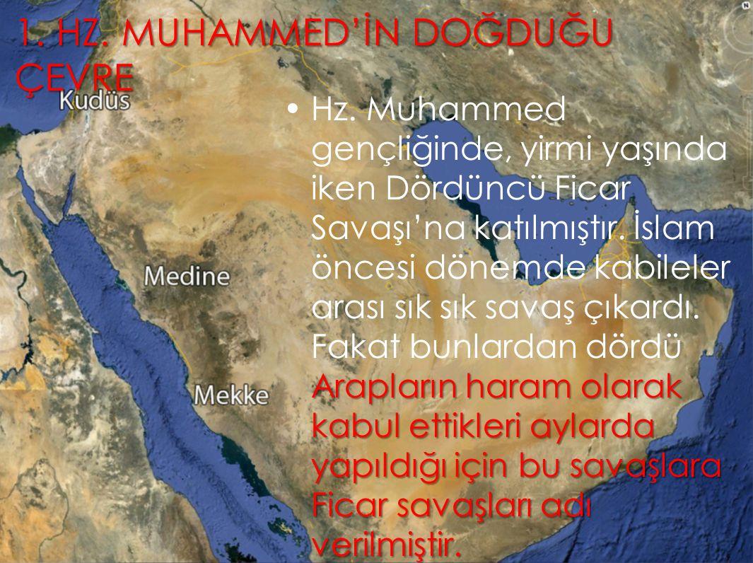 1. HZ. MUHAMMED'İN DOĞDUĞU ÇEVRE Arapların haram olarak kabul ettikleri aylarda yapıldığı için bu savaşlara Ficar savaşları adı verilmiştir.Hz. Muhamm