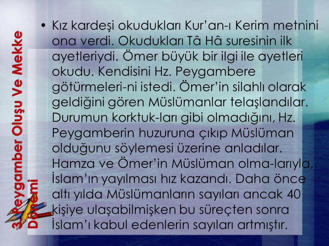 3. Peygamber OluşuVe Mekke Dönemi 3. Peygamber Oluşu Ve Mekke Dönemi Kız kardeşi okudukları Kur'an-ı Kerim metnini ona verdi. Okudukları Tâ Hâ suresin