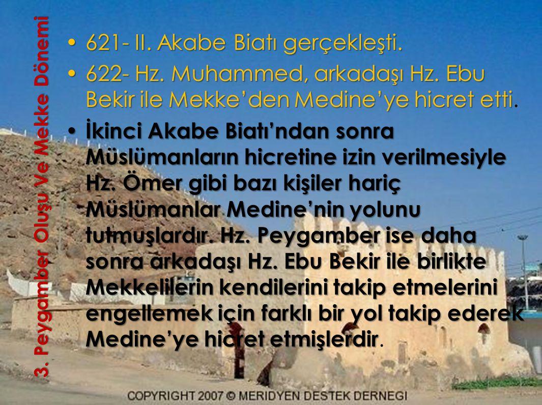3. Peygamber OluşuVe Mekke Dönemi 3. Peygamber Oluşu Ve Mekke Dönemi 621- II. Akabe Biatı gerçekleşti.621- II. Akabe Biatı gerçekleşti. 622- Hz. Muham