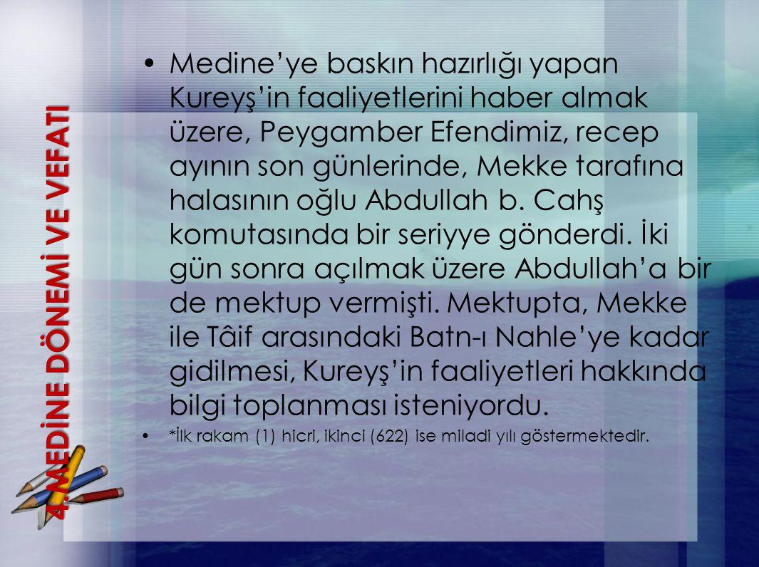 Medine'ye baskın hazırlığı yapan Kureyş'in faaliyetlerini haber almak üzere, Peygamber Efendimiz, recep ayının son günlerinde, Mekke tarafına halasını