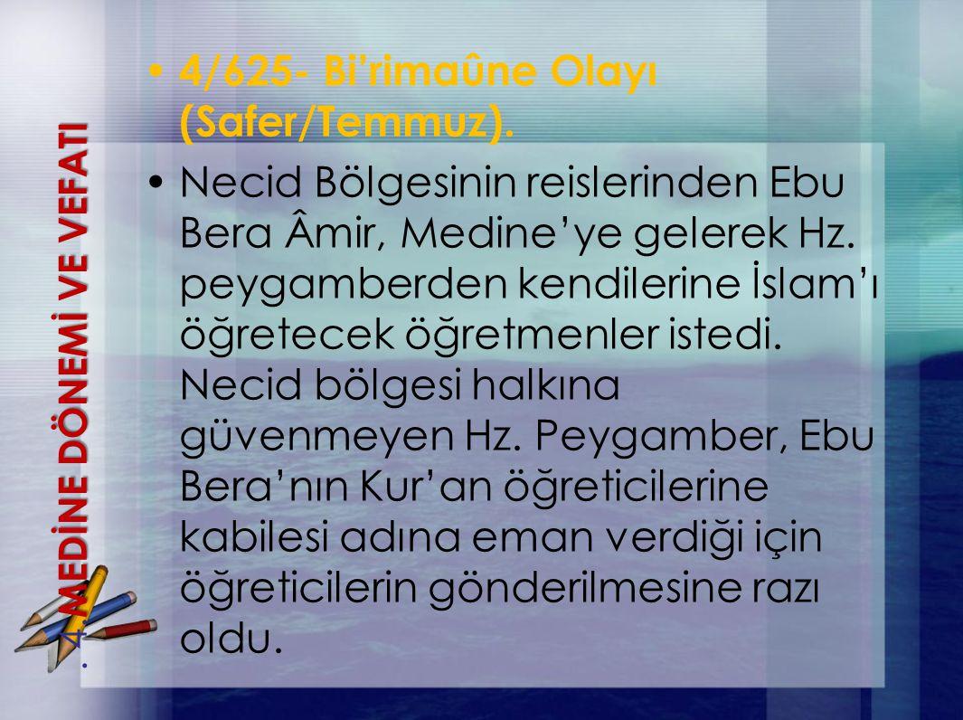 4/625- Bi'rimaûne Olayı (Safer/Temmuz). Necid Bölgesinin reislerinden Ebu Bera Âmir, Medine'ye gelerek Hz. peygamberden kendilerine İslam'ı öğretecek