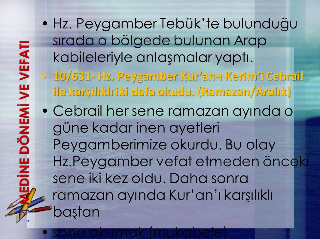Hz. Peygamber Tebük'te bulunduğu sırada o bölgede bulunan Arap kabileleriyle anlaşmalar yaptı. 10/631- Hz. Peygamber Kur'an-ı Kerim'i Cebrail ile karş