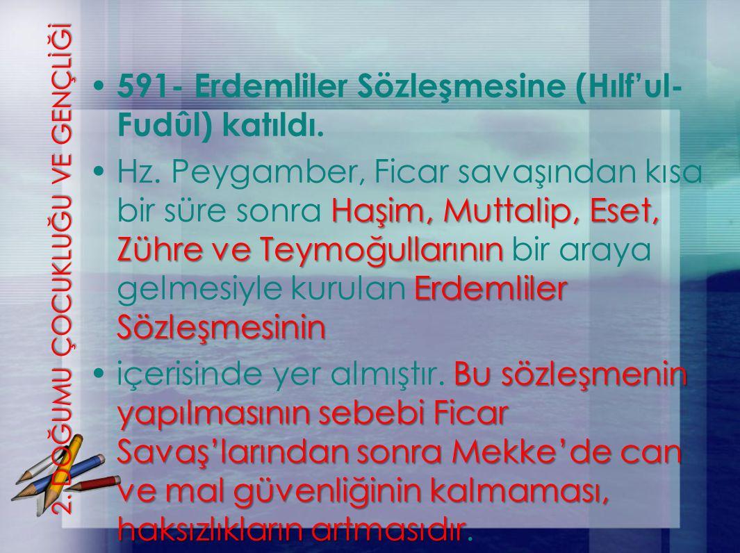 2. DOĞUMU ÇOCUKLUĞU VE GENÇLİĞİ 591- Erdemliler Sözleşmesine (Hılf'ul- Fudûl) katıldı. Haşim, Muttalip, Eset, Zühre ve Teymoğullarının Erdemliler Sözl