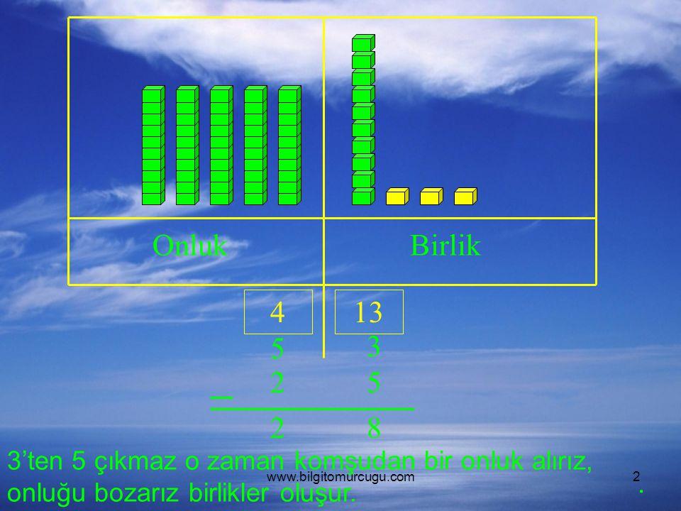 www.bilgitomurcugu.com2 OnlukBirlik 5 3 25 3'ten 5 çıkmaz o zaman komşudan bir onluk alırız, onluğu bozarız birlikler oluşur. 413 82.