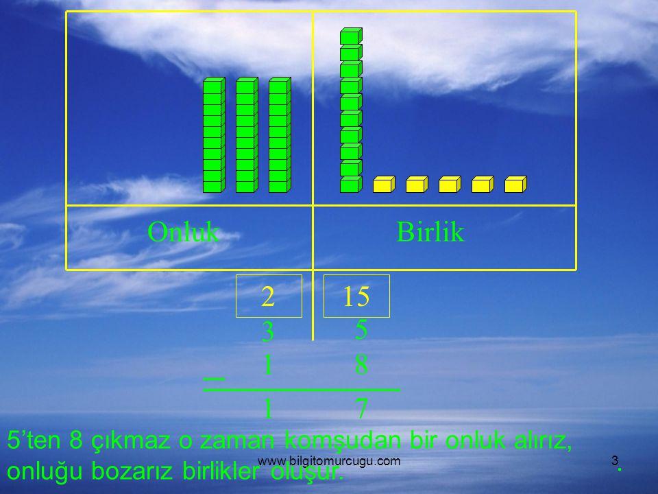 www.bilgitomurcugu.com3 OnlukBirlik 3 5 18 5'ten 8 çıkmaz o zaman komşudan bir onluk alırız, onluğu bozarız birlikler oluşur. 215 71.