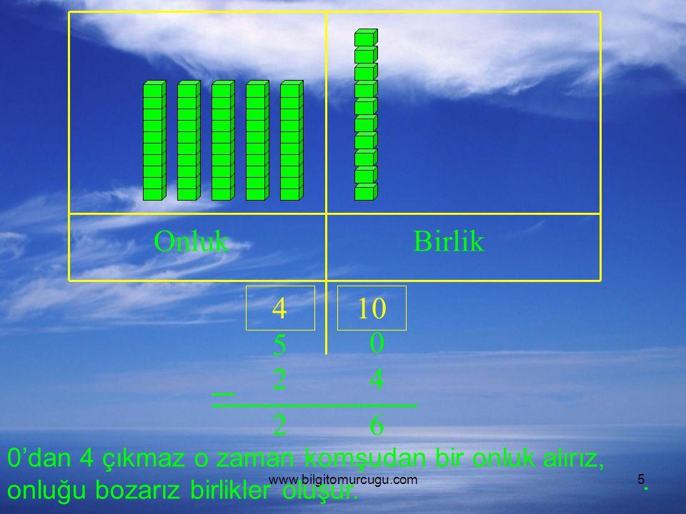 www.bilgitomurcugu.com5 OnlukBirlik 5 0 24 0'dan 4 çıkmaz o zaman komşudan bir onluk alırız, onluğu bozarız birlikler oluşur. 410 62.