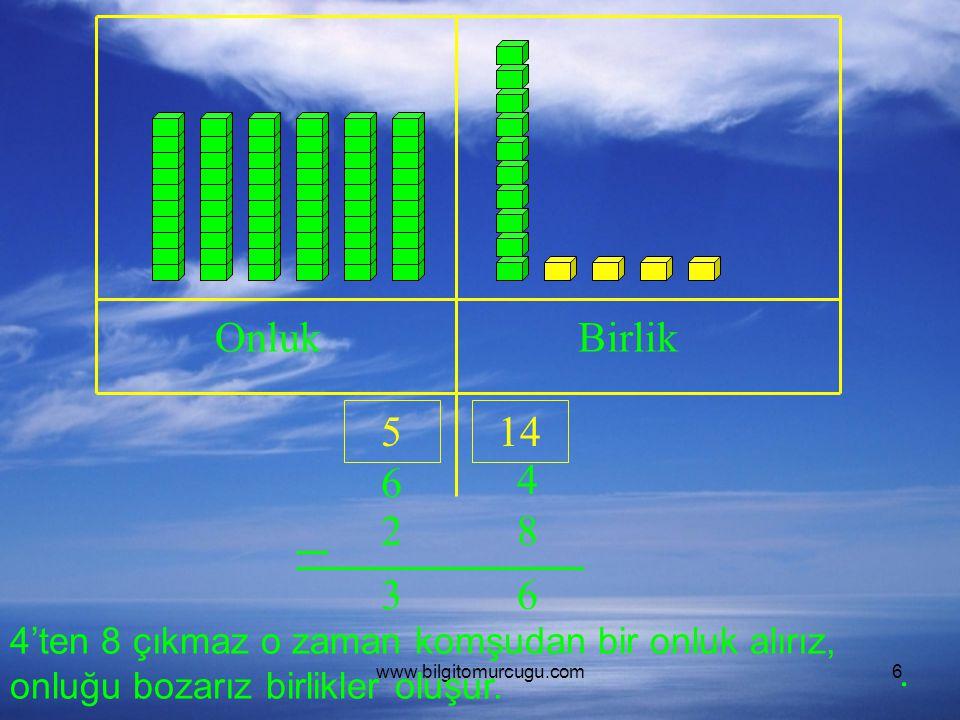 www.bilgitomurcugu.com6 OnlukBirlik 6 4 28 4'ten 8 çıkmaz o zaman komşudan bir onluk alırız, onluğu bozarız birlikler oluşur. 514 63.
