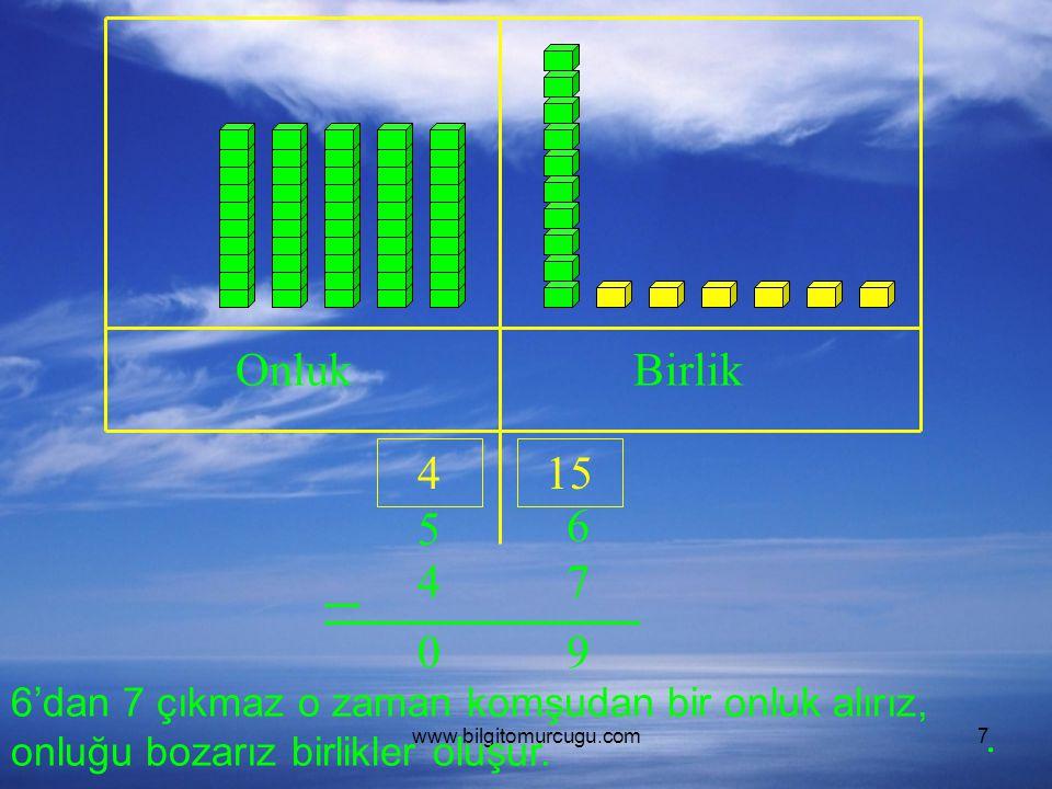 www.bilgitomurcugu.com7 OnlukBirlik 5 6 47 6'dan 7 çıkmaz o zaman komşudan bir onluk alırız, onluğu bozarız birlikler oluşur. 415 90.