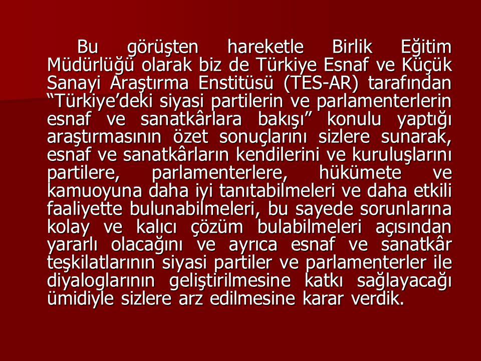 """Bu görüşten hareketle Birlik Eğitim Müdürlüğü olarak biz de Türkiye Esnaf ve Küçük Sanayi Araştırma Enstitüsü (TES-AR) tarafından """"Türkiye'deki siyasi"""