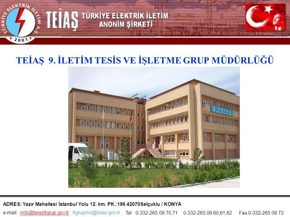 TEİAŞ 9.İLETİM TESİS VE İŞLETME GRUP MÜDÜRLÜĞÜ ADRES: Yazır Mahallesi İstanbul Yolu 12.