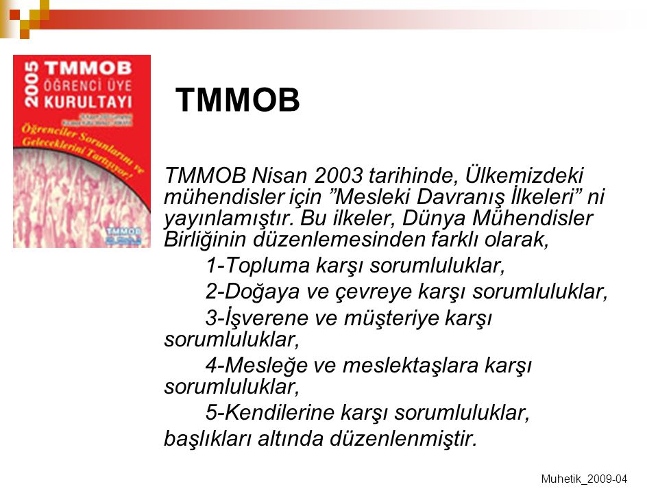 """TMMOB Nisan 2003 tarihinde, Ülkemizdeki mühendisler için """"Mesleki Davranış İlkeleri"""" ni yayınlamıştır. Bu ilkeler, Dünya Mühendisler Birliğinin düzenl"""