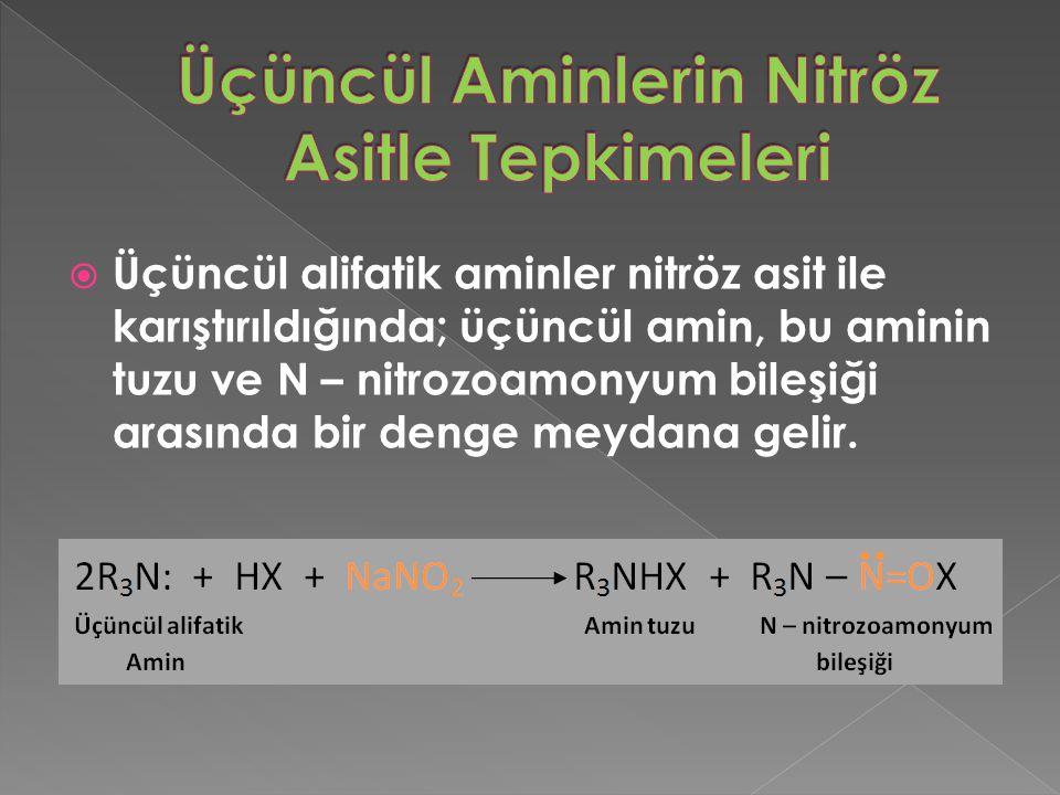  Üçüncül alifatik aminler nitröz asit ile karıştırıldığında; üçüncül amin, bu aminin tuzu ve N – nitrozoamonyum bileşiği arasında bir denge meydana gelir.