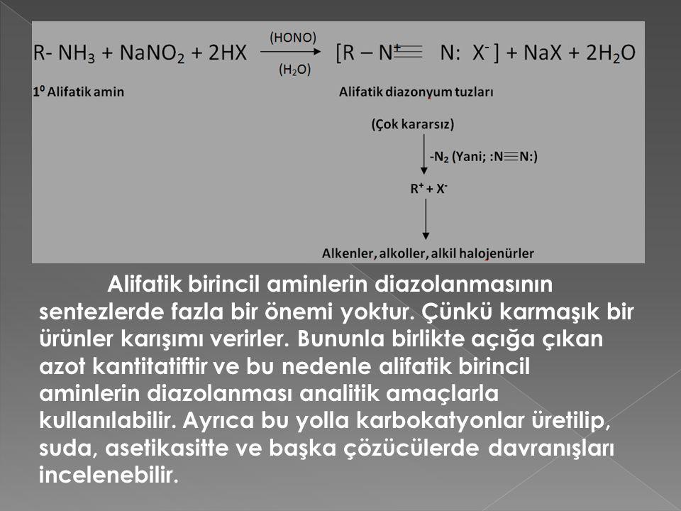 Alifatik birincil aminlerin diazolanmasının sentezlerde fazla bir önemi yoktur.