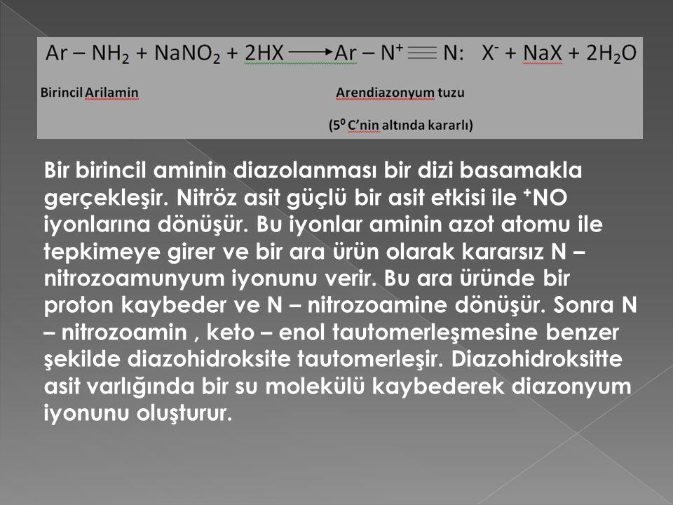 Bir birincil aminin diazolanması bir dizi basamakla gerçekleşir.