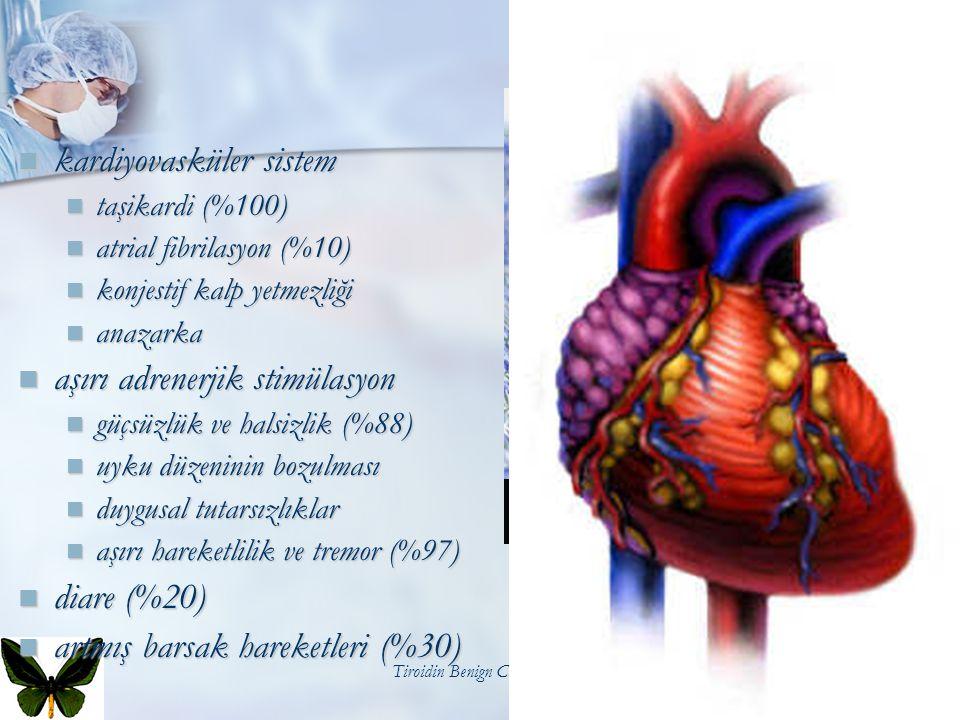 Tiroidin Benign Cerrahi Hastalıkları20 kardiyovasküler sistem kardiyovasküler sistem taşikardi (%100) taşikardi (%100) atrial fibrilasyon (%10) atrial