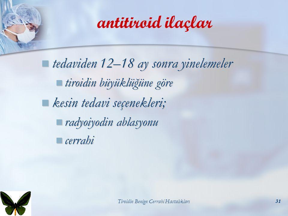 Tiroidin Benign Cerrahi Hastalıkları31 antitiroid ilaçlar tedaviden 12–18 ay sonra yinelemeler tedaviden 12–18 ay sonra yinelemeler tiroidin büyüklüğü