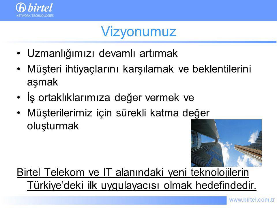 www.birtel.com.tr Sistem ve IT Entegrasyonu Telekom Çözümleri IT Çözümleri TV Yayıncılık Sistemleri ARGE Ürün Geliştirme Danışmanlık Hizmetleri Bakım ve Destek Eğitim Hizmetleri Distrübütörlük Faaliyet Alanları