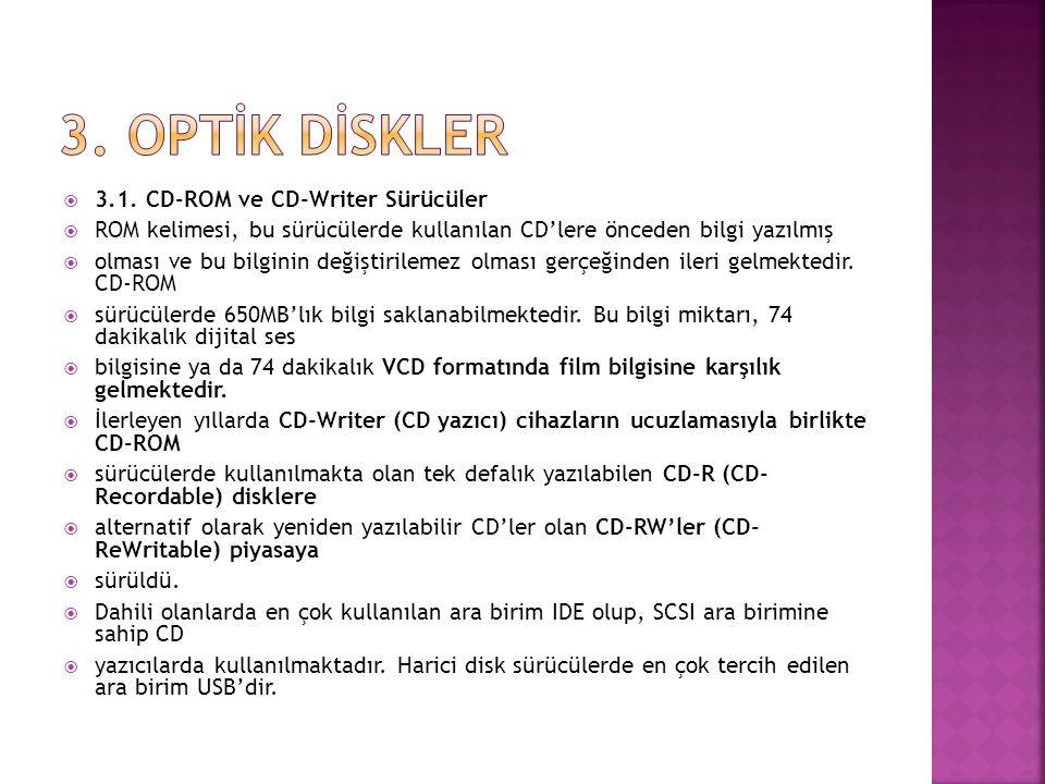  3.1. CD-ROM ve CD-Writer Sürücüler  ROM kelimesi, bu sürücülerde kullanılan CD'lere önceden bilgi yazılmış  olması ve bu bilginin değiştirilemez o