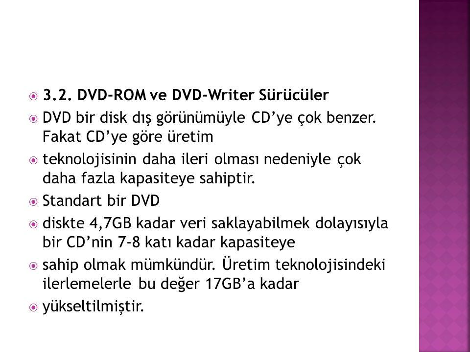  3.2. DVD-ROM ve DVD-Writer Sürücüler  DVD bir disk dış görünümüyle CD'ye çok benzer. Fakat CD'ye göre üretim  teknolojisinin daha ileri olması ned